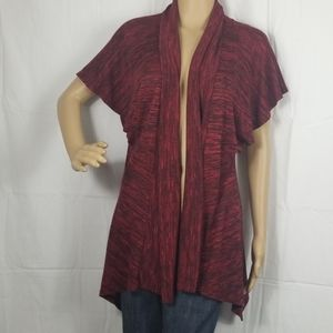 New Directions red and black open front cardigan